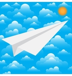 Paper white plane the beginning way vector