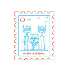 Porto cathedral postage stamp blue and red line vector