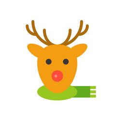 reindeer face christmas style flat style icon vector image