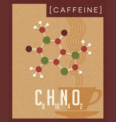 Retro poster caffeine molecule vector