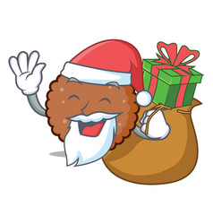 Santa with gift chocolate biscuit mascot cartoon vector