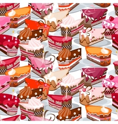 Seamless background made of cake slices vector