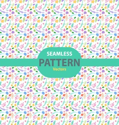 Seamless pattern with different leaves and hearts vector