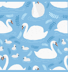seamless pattern with flock of white swans and vector image