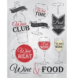 Set collection of wine wine club coal vector