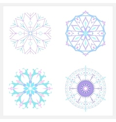 Set of Christmas Colorful Snowflake vector image