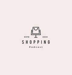 shopping podcast logo hipster retro vintage icon vector image