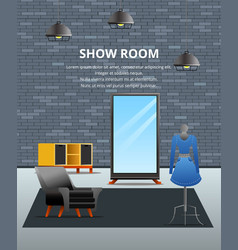 showroom loft flat background vector image