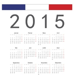 Simple french 2015 year calendar vector image