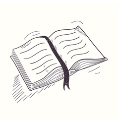 Sketched open book desktop icon vector image