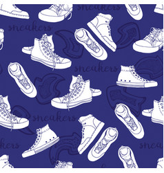 Sneakers sketch pattern active shoes seamless vector