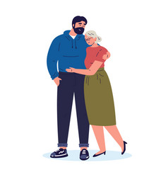 Son and mother hug each other vector