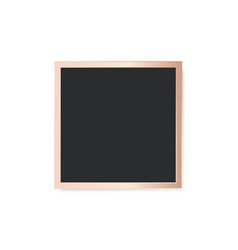 Square black board in golden frame isolated vector