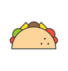 Taco mexican food food and gastronomy set filled vector