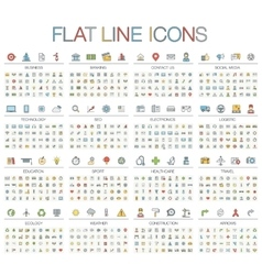 thin line color icons vector image