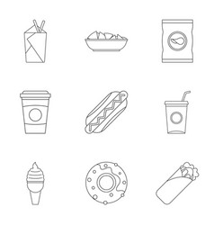 Unhealthy food icon set outline style vector