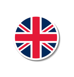 United kingdom rounded flag button with dropped sh vector