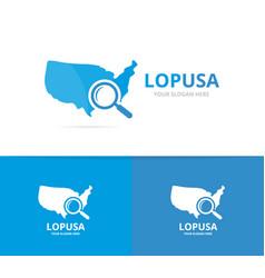 usa and loupe logo combination america vector image