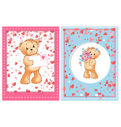 valentine furry bear with flower and letter vector image