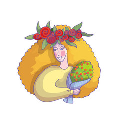 woman with tulip wreath on head holding bouquet of vector image
