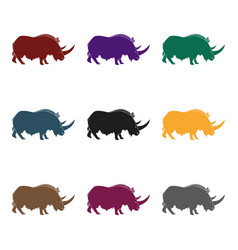 Woolly rhinoceros icon in black style isolated on vector