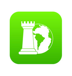World planet and chess rook icon digital green vector