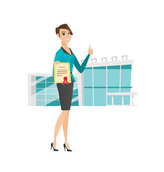 Young caucasian business woman holding certificate vector