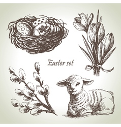 Easter set hand drawn sketch vector image vector image