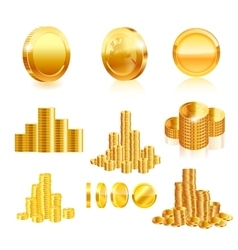 Gold coin set vector image vector image