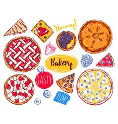 hand drawn pie slice cake icon set vector image