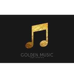 Music note Golden note Music logo design vector image