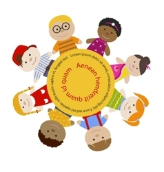 Round frame with children vector image