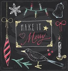 Vintage Christmas Chalkboard Hand Drawn Set 5 vector image vector image