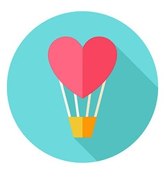 Air Balloon with Heart Circle Icon vector image