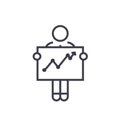 businessman with growth graph linear icon sign vector image vector image
