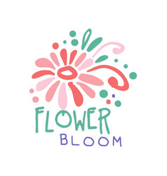 flower bloom logo template colorful hand drawn vector image