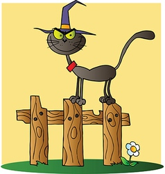 Halloween Witch Cat On A Fence Over Yellow vector image