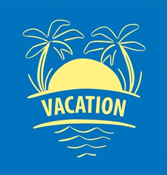 Logo sun palm trees sea vector