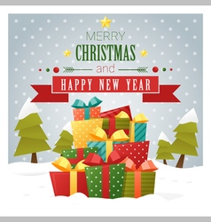 Merry Christmas and Happy New Year greeting card 2 vector image vector image