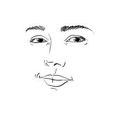 Monochrome art portrait of flirting woman face vector