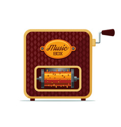 realistic vintage music box isolated on white vector image vector image