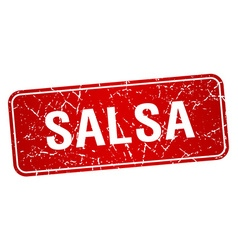 Salsa red square grunge textured isolated stamp vector