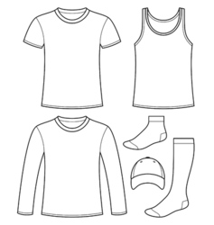 Singlet t-shirt long-sleeved t-shirt cap and socks vector