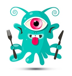 Alien - Monster or Bacillus with Fork and Kn vector image