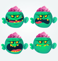 cartoon images of funny green zombies set vector image vector image