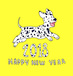 happy dog as a symbol 2018isolated on yellow vector image vector image