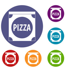 pizza box cover icons set vector image vector image