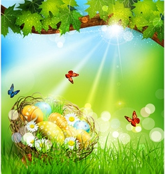 background with Easter nest and eggs on the meadow vector image vector image