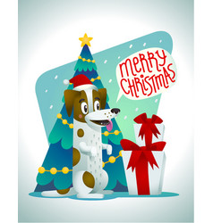 cute dog with holiday gifts and speech bubble vector image vector image
