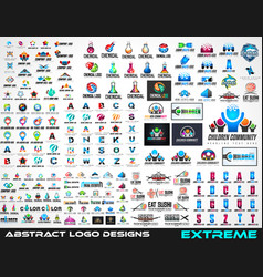 large collection of logos for brand design vector image vector image